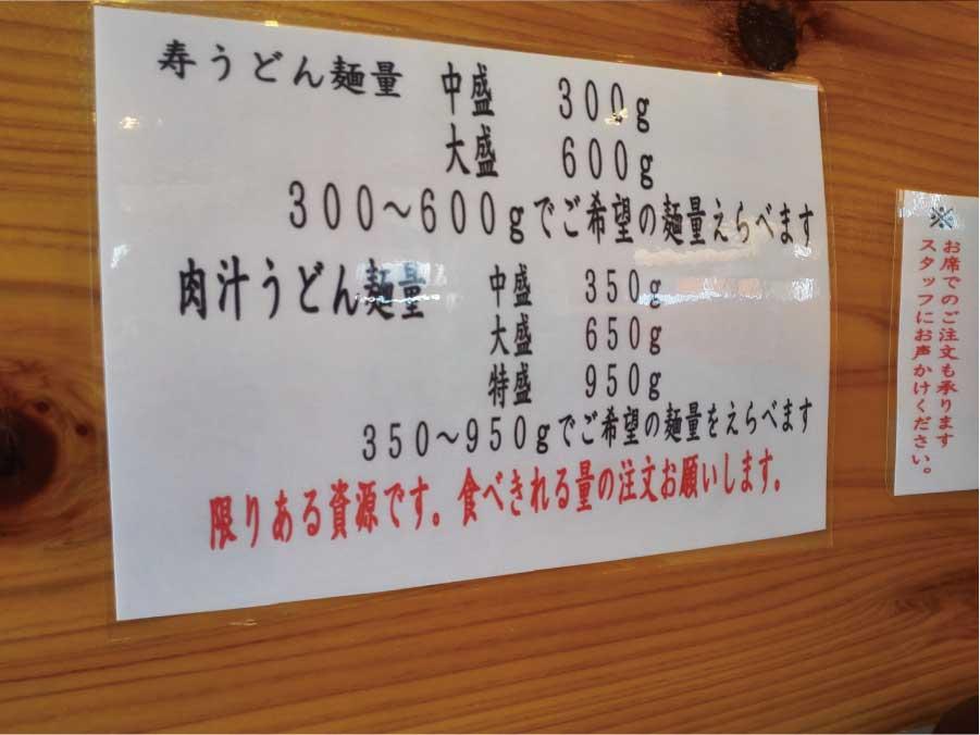 寿製麺のうどんの量