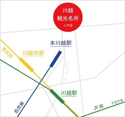 川越の駅と観光名所の位置関係