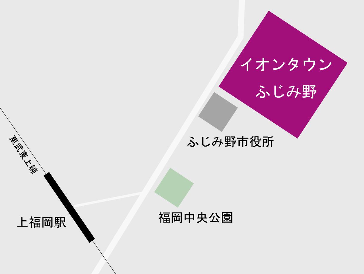 上福岡駅からイオンタウンふじみ野までの地図