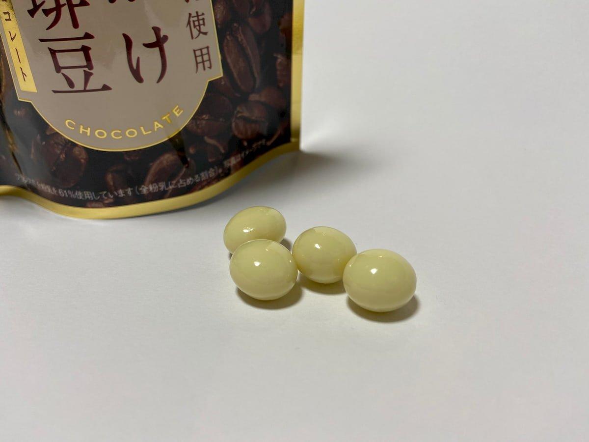 チョコがけ完熟珈琲豆ホワイトチョコレートの粒