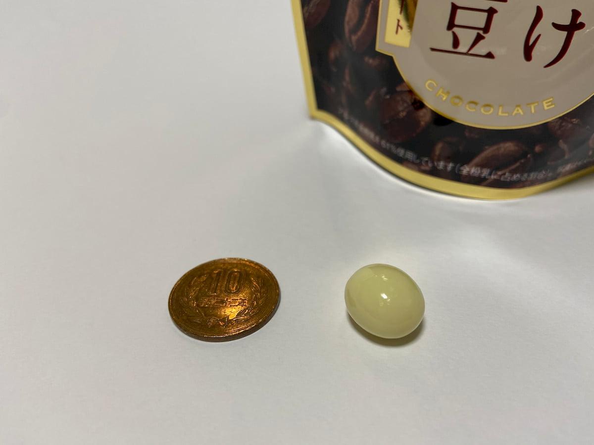 チョコがけ完熟珈琲豆ホワイトチョコレートの粒のサイズ