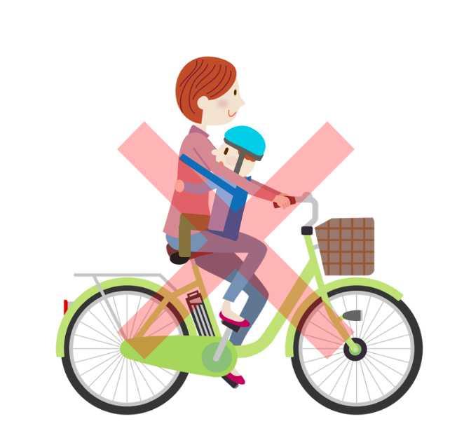 子どもを前で抱っこして自転車に乗る
